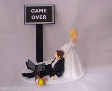 Wedding Reception Wine & Cheese Computer Laptop Video Game Over Sign Cake Topper
