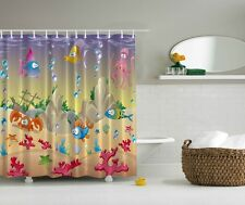 Octopus Crab Fish Sea-Life Shower Curtain Ship Under The Water Kids Bath Decor