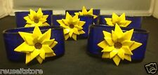 Napkin Rings Set Cobalt Blue Yellow Sunflowers Paper Mache Folk Art LOT 6 VTG