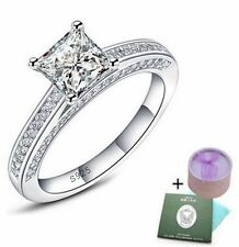 Real 925 Sterling Silver 1.5ct Princess Cut Diamond Engagement Rings Size 7