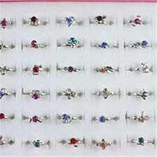 Wholesale 40pcs White Gold Plated Kid's Party Mix Color Crystal Adjustable Rings