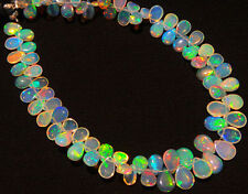 Super Flashing & Playing Fire Ethiopian Welo Opal Flat Base Pear Briolettes 8.5""