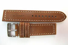 .22MM GLYCINE AIRMAN XLONG TAN LEATHER WHITE STITCHED STRAP / BAND & BUCKLE