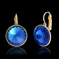 Fashion Crystal Gold Plated Blue Hook drop Stud earring for Women girls PM0137