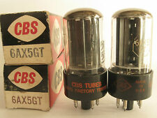 2 matched 1960+/- CBS 6AX5GT Rectifier tubes - New Old Stock / New In Boxes
