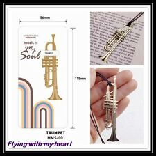 Trumpet Instrument Gold-plated Stainless Metal Music Art Bookmark - Perfect Gift