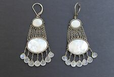 Dana Kellin Sundance Artist Moonstone MOP Chandelier Oxidized Silver Earrings