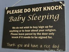 Black Sleeping Baby Do Not Knock Doorbell Wooden Warning No Soliciting Sign