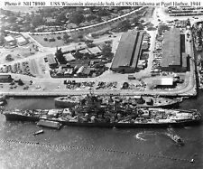 8X10 PHOTO USS WISCONSIN BB-64 OKLAHOMA BB-37 @ PEARL 1944 WW2 WWII BATTLESHIP