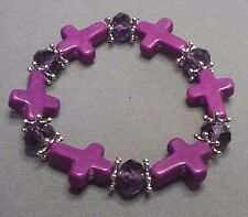 Christian Bracelet MINIATURE CROSSes Matching Facet Crystal Accent Beads PURPLE