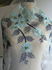 """60"""" Wide Lace Organza  Fabric with Embroidery Flowers for Sewing/Bridal"""