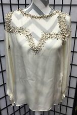 Haute Hippie Blouse/Top Beaded Pearls Antique Ivory Sheer Open Back XS NWT $495