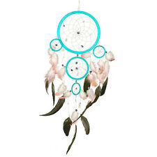 Turquoise Dreamcatcher with White and Black Feathers, made in Indonesia