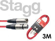 Stagg Microphone Mic Cable SMC3 3 Meter XLR Male to XLR Female RED - FREE P&P