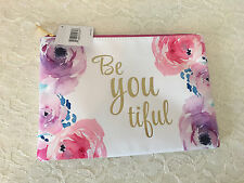 "Macy's ""Be You tiful"" large white makeup cosmetic bag floral watercolor Leather"