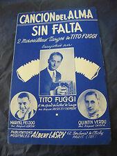 Partition Cancion del Alma Sin Falta Tito Fuggi Feijoo Verdu 1956 Music Sheet
