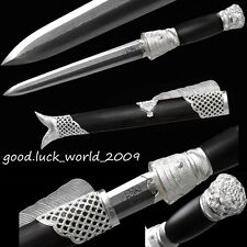 Top Quality Chinese Short Sword Dagger Silver Fitting Ebony Sheath Pattern Steel