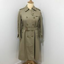 BURBERRY Beige Trench Coat Womens Double Breasted Long Size UK 12-14 03285