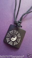 Bone & Resin Carved Taiji Bagua Pendant & Adjustable Cord Necklace Feng Shui