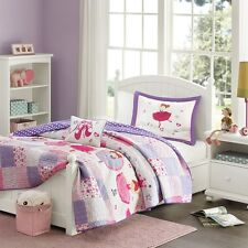 Ballerina Ballet Princess Girls Twin Quilt, Sham & Toss Pillow (3 Piece Bedding)