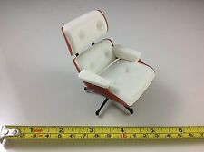 Dollhouse Miniature Furniture Office Home Modern White Vinyl Relaxing Chair 1:12