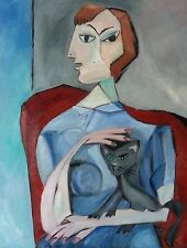 Dolique Original Oil Painting Cubism  Modern Art Portrait Woman with Cat