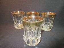 U.S. Glass Michigan Flat Water Tumblers Set of 3 with 2/3 Gold Trim
