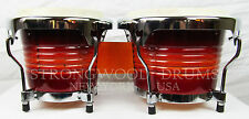 "Bongo Drums Latin Percussion Red Wood Gloss 6"" & 7"" Good Size Natural Skin, NEW"