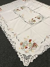 "Easter Rooster Embroidered Tablecloth Napkins 54x72"" Embroidery with 8 Napkins"