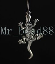 3Pcs New Tibetan Silver Hollow Out Gecko Charms Pendants Findings 52*22mm