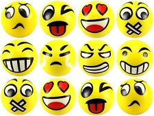 """12 pcs Fun Emoji 4"""" Stress Balls Happy Face Emotion Squeeze Soft Hand Gift Toy"""