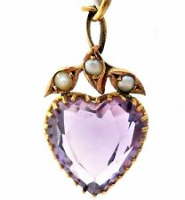 Victorian 9K Yellow Gold Amethyst and Pearl Heart Lavalier Pendant 5ct English