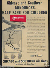 C & S CHICAGO AND SOUTHERN AIR LINES DOUGLAS DC-4 SKYMASTER 1946 ROUTE MAP AD
