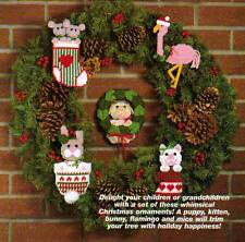 CHRISTMAS CRITTERS ORNAMENTS CAT DOG PLASTIC CANVAS PATTERN INSTRUCTIONS
