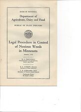 1946 MN Department  Agriculture Dairy Food Booklet Legal Procedure Weed Control