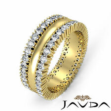 Prong Diamond Eternity Ring 8mm Stunning Mens Wedding Band 18k Yellow Gold 1.9Ct