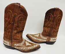Mexico Made Boots Cowboy Western Embroidered Fox Head Logo Distress (W)9(M)8 VTG