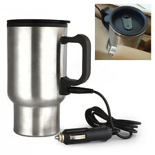 New Stainless Steel Car Heating Electric Water Coffee Tea Cup Bottle Travel Mug