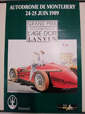 Affiche poster GP Age d'or 1989 Maserati Montlhéry Motor racing Course auto F1