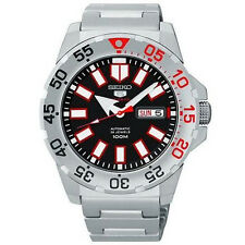 Seiko 5 SRP485 K1 Monster Lite Black and Red Divers Watch SRP485K1