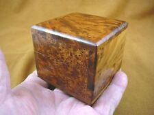 (BOX-284) BURL BOX square med Thuya Wood African carved carving Morocco Exotic