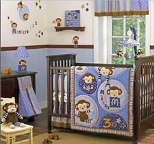 FULL CRIB SIZE- Cocalo Baby Monkey Mania 6-PC VALANCE, BUMPER, STACKER & BEDDING