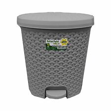 21 Litre RATTAN Silver Pedal Bin Bathroom Waste Dustbin Kitchen Wicker effect