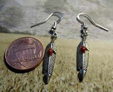 Antiqued Silvered Feather Earrings on .925 Sterling Silver French Hooks