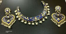 Bollywood Gold Tone Jewelry Kundan Blue Choker Hasli Style Necklace Set