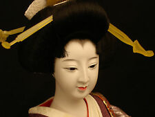 "20"" H JAPANESE SHOWA OYAMA GEISHA DOLL WITH CUSTOM MADE CASE & LACQUER STAND"
