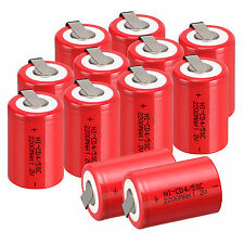 Lot of 12pcs NiCd 4/5 SubC Sub C 1.2V 2200mAh Ni-Cd Rechargeable BatteryTab Red