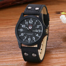 Retro Casual Men Automatic Quartz Mechanical Black PU Leather Casual Wrist Watch