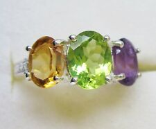 Peridot, Amethyst & Citrine Ring in 925 Sterling Silver, size 5