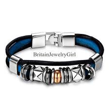 """Punk Rock Rivet Black Blue Leather Wristband Bracelet  for Boys Girls Gift 8.27"""""""
